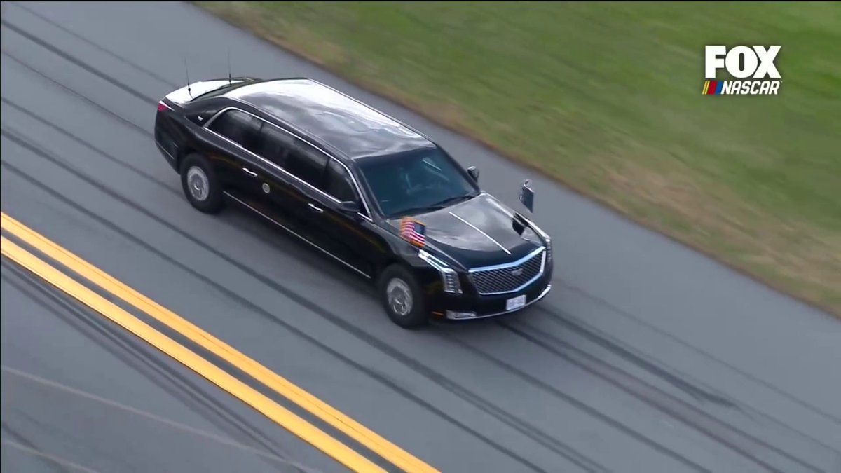 President @realDonaldTrump takes a few laps around Daytona International Speedway.