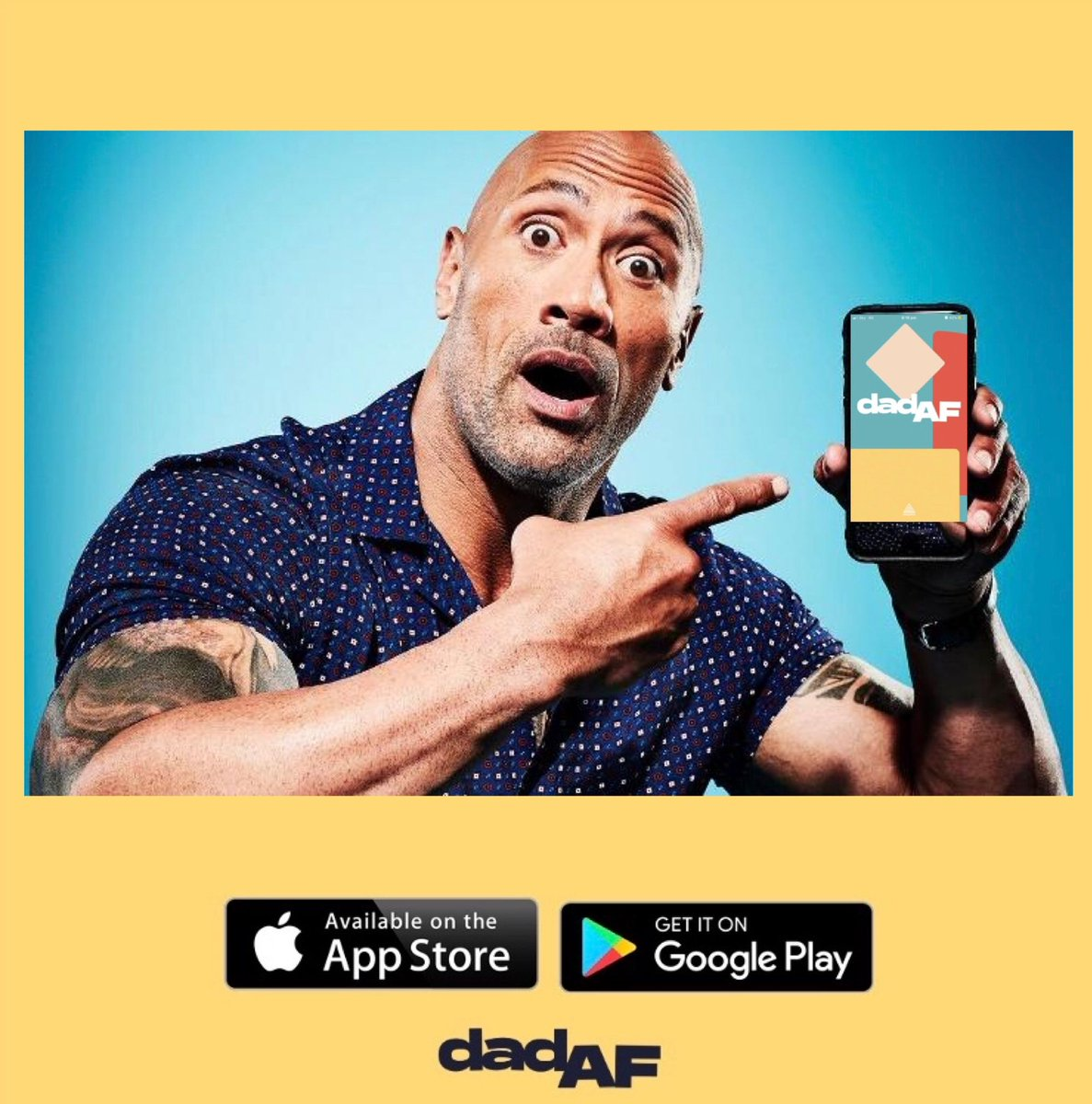 Dwayne @TheRock Johnson has just discovered the Dad AF app, and he LOVES it! • • • #dad #dadaf #dadlife #dads #therock #dwayne #johnson #dwaynejohnson #parenting #dadcommunity #dadnetwork #parent #wwe #wrestling #movies #tvpic.twitter.com/AEQM3bdmlQ
