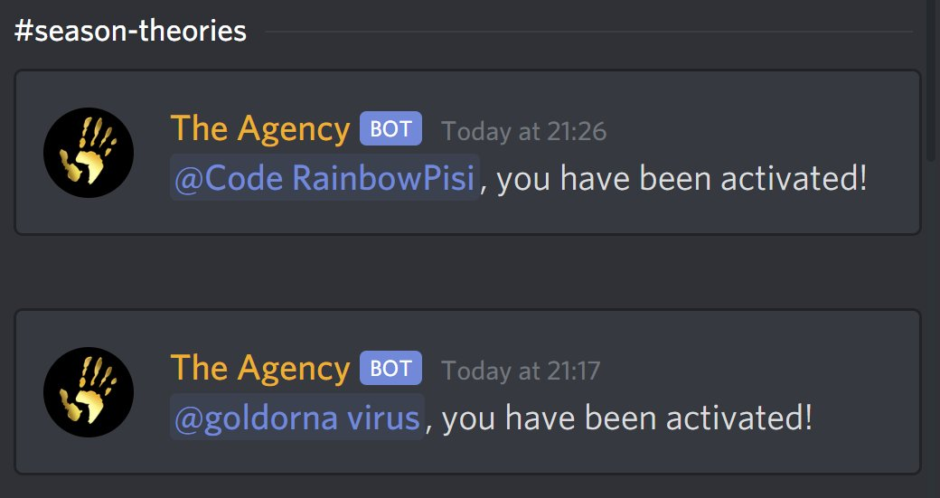 Fortnite Discrd Bot Fortnite News On Twitter A Bot Called The Agency Has Turned Up In Fortnite S Discord Server And Is Occassionally Granting People A Role Called Https T Co T2ihnp2jgh