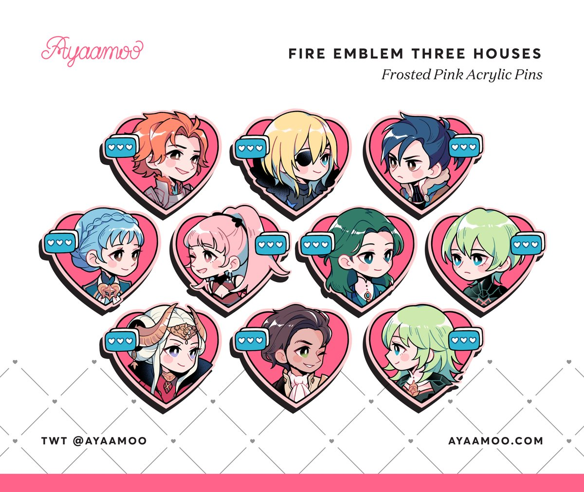[RTs] Happy belated Valentines! These fe3h heart pins are now up for preorder on my store    http:// ayaamoo.com        Ending Mar 7th  Thank you for your time, any RTs are greatly appreciated!  #fe3h #FireEmblemThreeHouses<br>http://pic.twitter.com/lSnIykZTeW