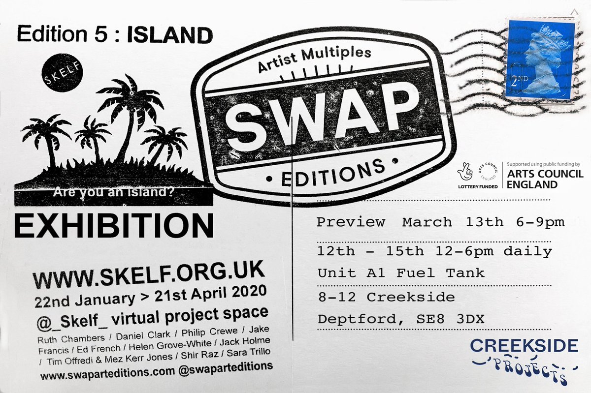 'Wish you were here'.... @swaparteditions No 5 : ISLAND #exhibition in collaboration with @_skelf_  at Creekside Projects in Deptford > 13/3/20 be there. #swaparteditions #swapart #areyouanisland #island #artyouanisland #swap #skelf #postcard #art #gallery #deptford #creekside