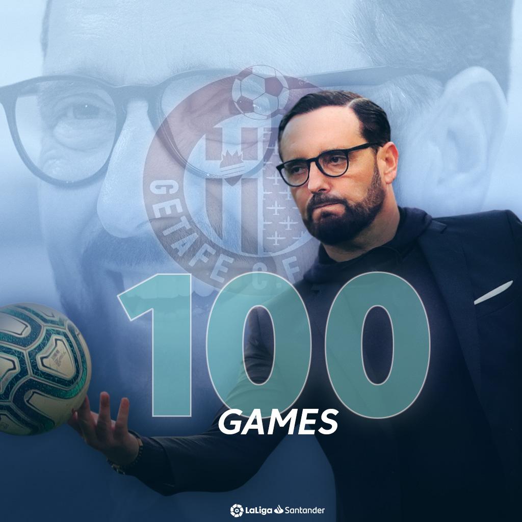 🧠👏 𝐌 𝐀 𝐒 𝐓 𝐄 𝐑 𝐌 𝐈 𝐍 𝐃 👏🧠 Jose Bordalas has now taken charge of 100 matches in #LaLigaSantander! 💯 💙 @GetafeCF 💙