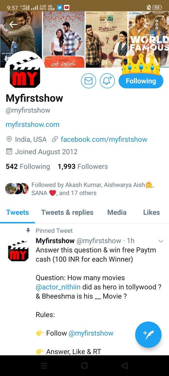 ➡️26 movies released in Tollywood      ➡️27th movie is bheeshma  Follow @myfirstshow Done ❤️ Like + RT ☑️  Join&win @avii4ever @karan875  @Aka5hKr @3Madhvi @DivzArjun @chilled_Sup  @Vaibhav17m @mysterioussu  @GeeknGlam @Heart_loverR @Queen_Kitten7  @itsme_rooh @DJ_Bhayani