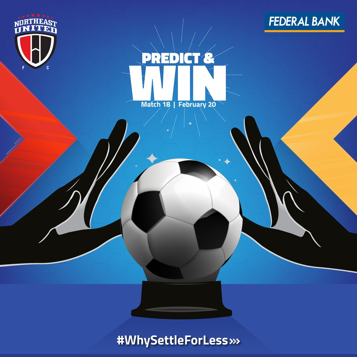 Predict the goal margin of the match between NEUFC & Hyderabad on 20.02.2020 and stand a chance to win some amazing prizes.  T & C: http://bit.ly/PredictNWin   #WhySettleForLess #NEUFC #ISL #FederalBankLtd