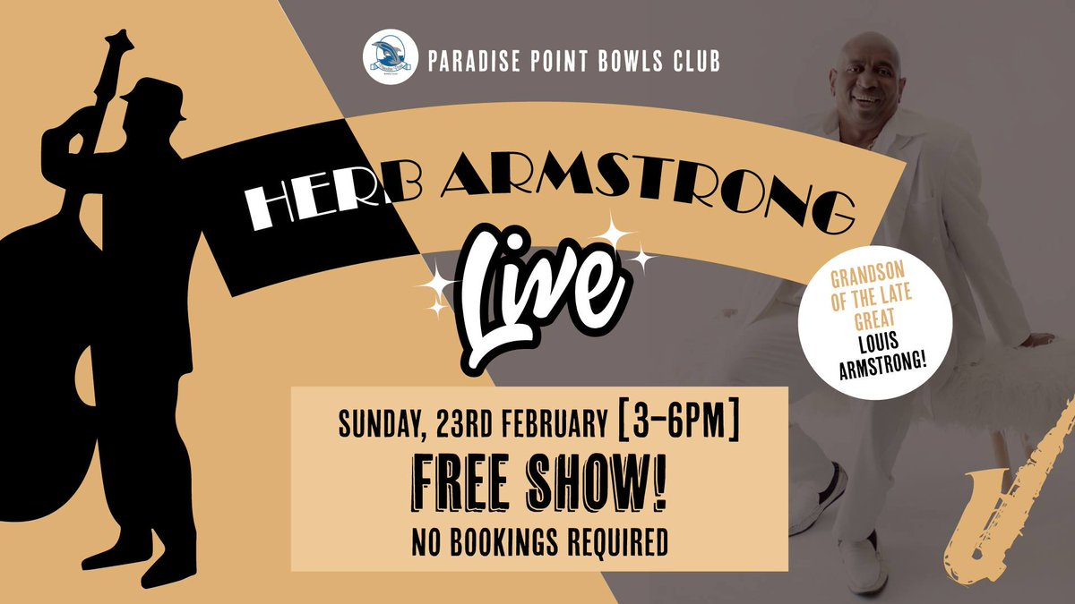 Not sure what to do next Sunday? Come to Paradise Point in Queensland, Australia to enjoy a free event with #HerbArmstrong, grandson of the late great #LouisArmstrong, taking you onto a journey. #Bookings through @ClaudiaeRecords @JJ_ArtistScout  #FreeEvent #Jazzpic.twitter.com/7bYA2rPmuv