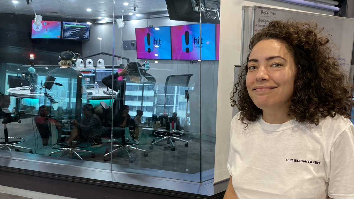 .@ash_london creeping as she waits to get to chat to @5SOS! Hear the chat from 7PM AEDT 👂 play.hit.com.au/listen