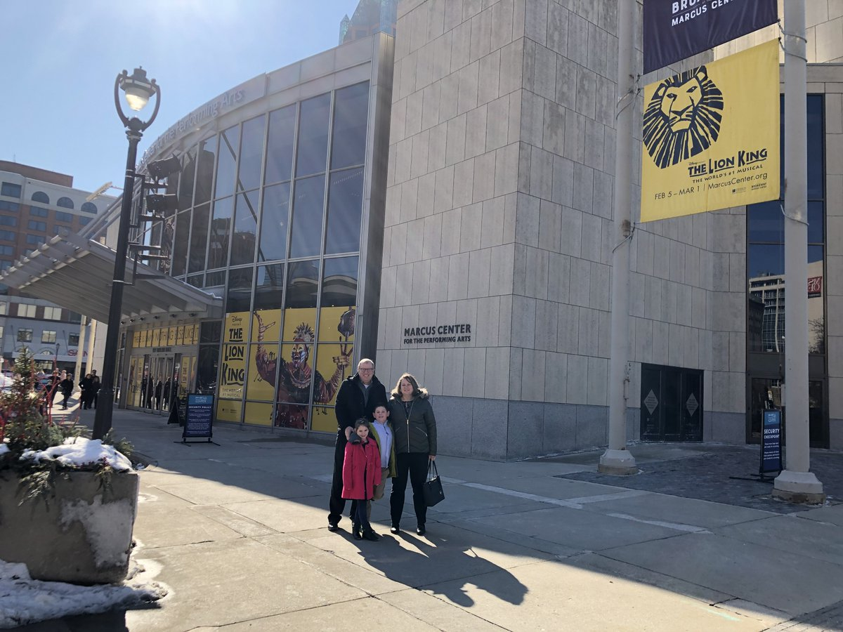 We saw The Lion King at the Marcus Performing Arts Center!  Fun Sunday afternoon with the family!  Amazing!  #lionking  <br>http://pic.twitter.com/wqoZRK9fX4