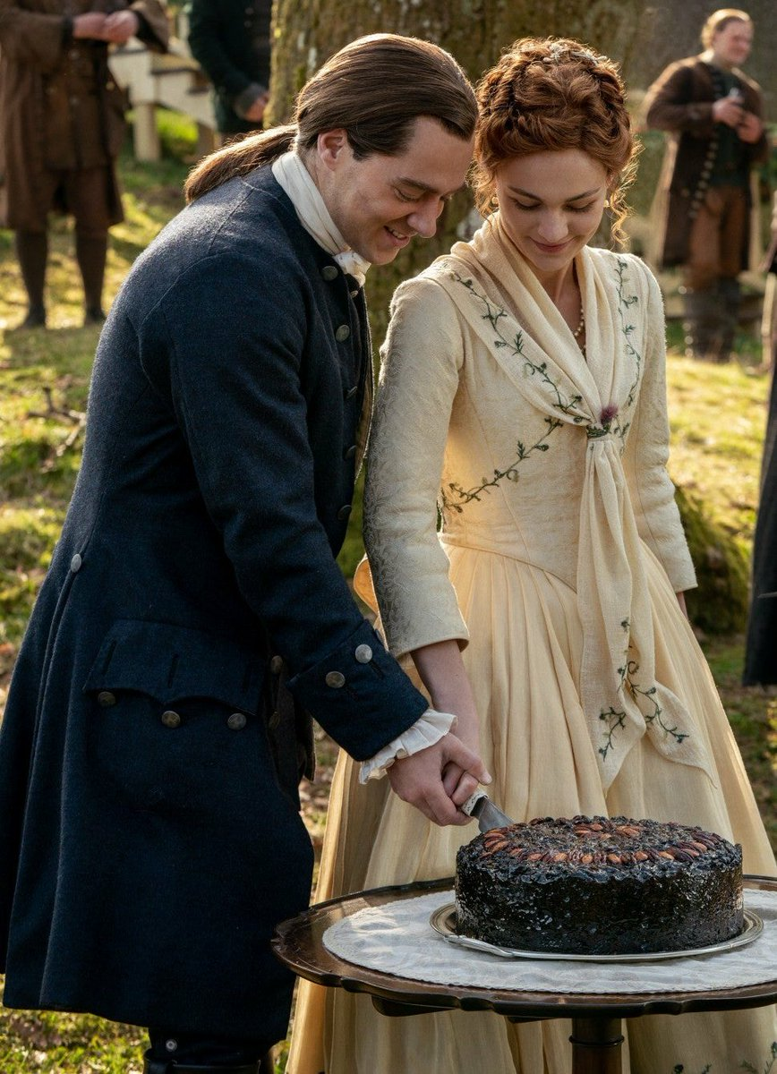 Hey Cut me a piece of that wedding cake.  I'm feeling a bit left out of the action! 😜 🍰 #Outlander 501 #OutlanderWedding #TheMacKenzies #TheFieryCross #FrasersRidge @Outlander_STARZ @SamHeughan @caitrionambalfe @SkeltonSophie @RikRankin @mariadkennedy