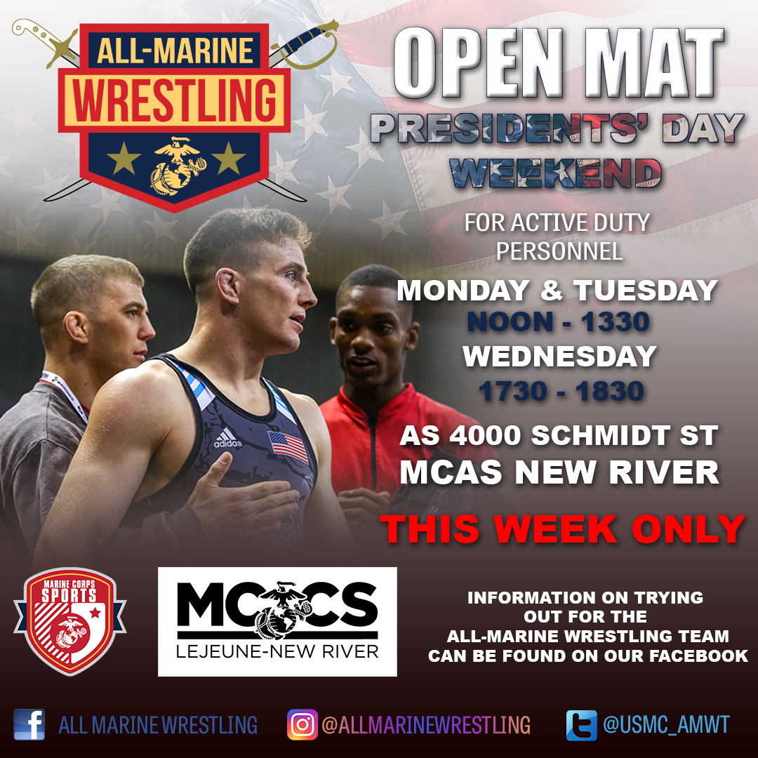 PRESIDENTS' DAY 96 OPEN MATS! Get a workout in over the 96 Liberty at the AMWT Gym located on MCAS New River at Building AS-4000! . . #mccs #newriver #camplejeune #amwt #marines #semperfi #hitt #wrestling #openmatspic.twitter.com/NOYPLnFR7H