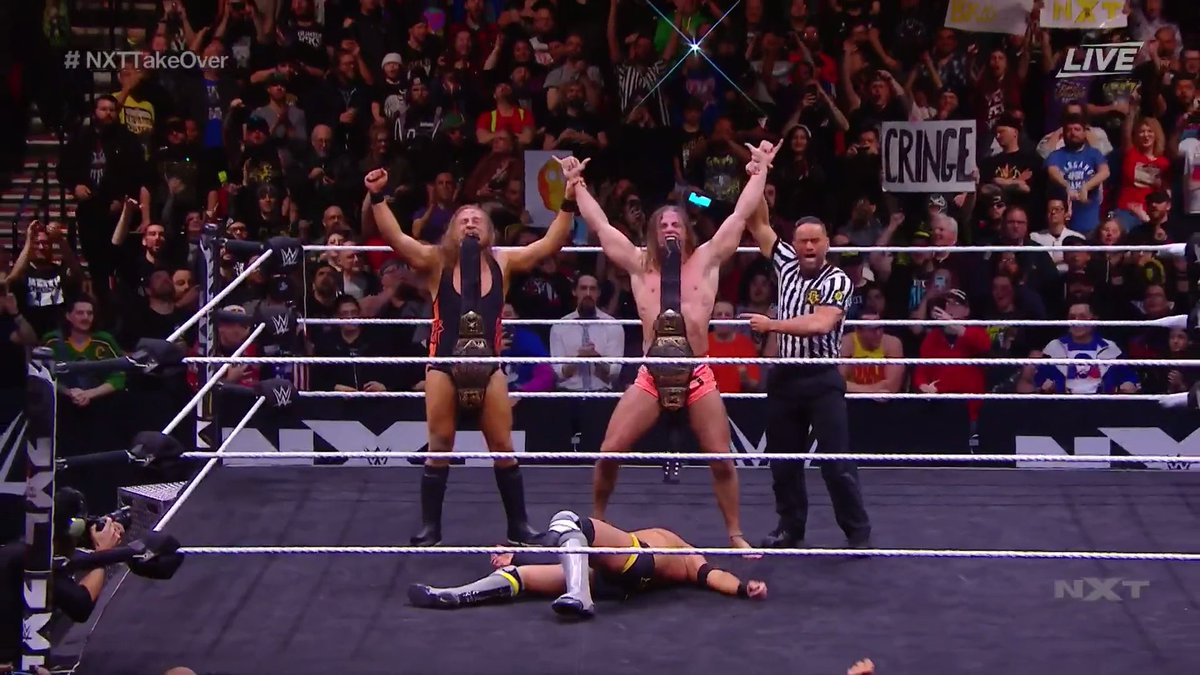 The #BroserWeights out here collecting alllll that gold.@PeteDunneYxB & @SuperKingofBros are your new NXT Tag Team Champions!!!! #NXTTakeOver