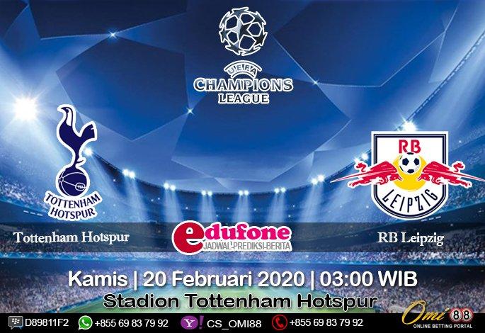 #prediksibola Tottenham Hotspur vs RB Leipzig 20 Februari 2020 Skor: 2 : 0 O/U: Over Handicap: 0 : 1/4 1X2: Away Win Time: 03:00 WIB  Stadion: Tottenham Hotspur  Daftar SBOBET: http://omi88s.net/?ref=sbola88   #TottenhamHotspur #Juventus #daftarsbobet #omi88 #UEFAChampionsLeague pic.twitter.com/3qWgV7Whkg