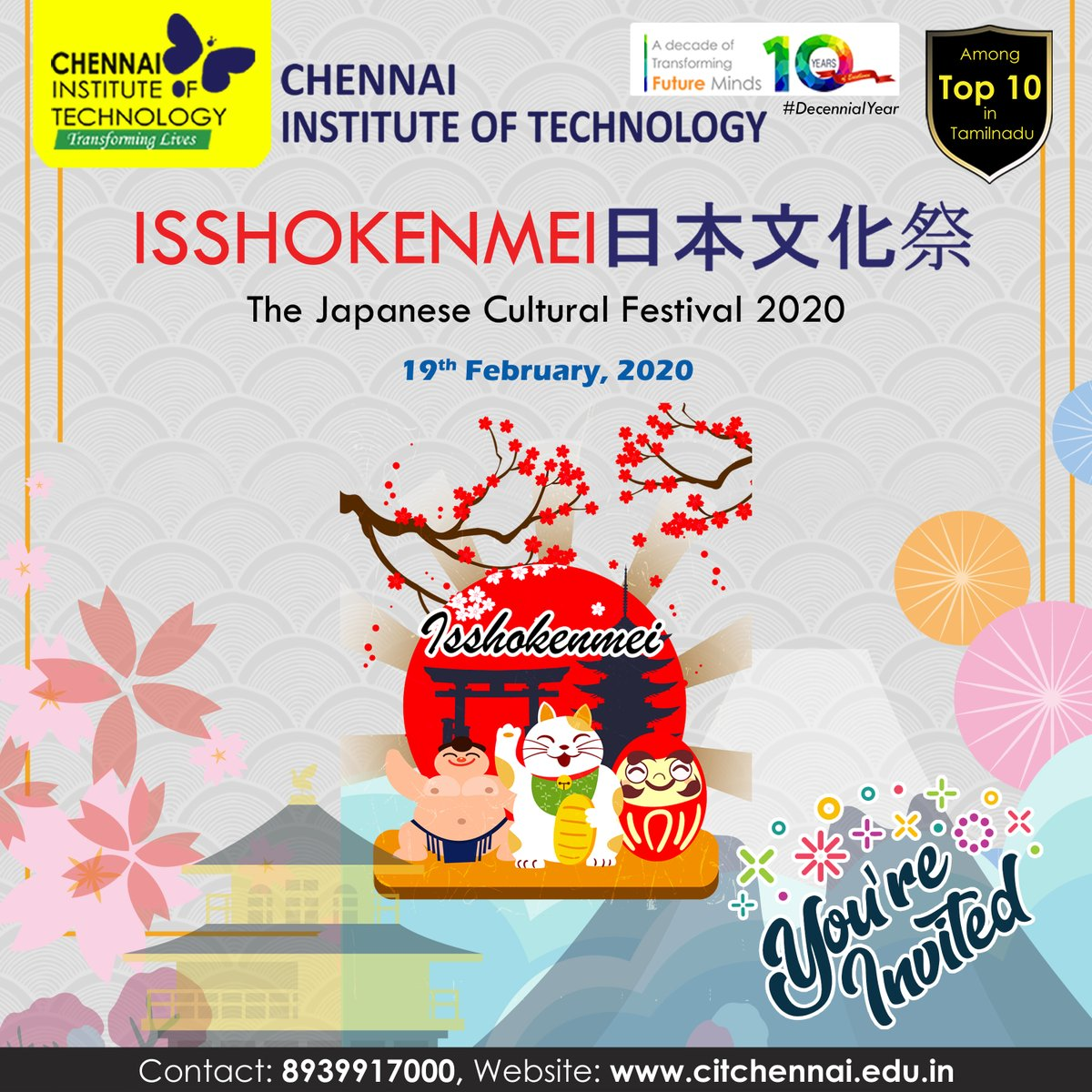 """Asian Laguage Club of #ChennaiInstituteofTechnology organises """"ISSHOKENMEI"""" - The Japanese Cultural Festival 2020 on 19th February, 2020 at Kaveri Auditorium, CIT Campus. Mr.Takesaburo Arai, Indo Japan Business Consultant has kindly consented to be the Chief Guest for the Fest. pic.twitter.com/5W15bu3ArT"""