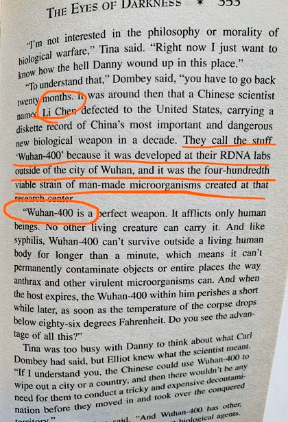 This is beyond eerie. A 1981 thriller by Dean Koontz predicted the #Coronavirus nightmare, pinpointing it to supposedly biological weapons labs in China's Wuhan!