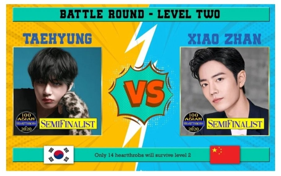VOTE for #Taehyung #KimTaehyung #Taetae #V #뷔 #태형 #BTS https://www.starmometer.com/2020/02/15/100-asian-heartthrobs-2020-battle-round-kim-taehyung-vs-xiao-zhan/…pic.twitter.com/Dr9oC53Y80