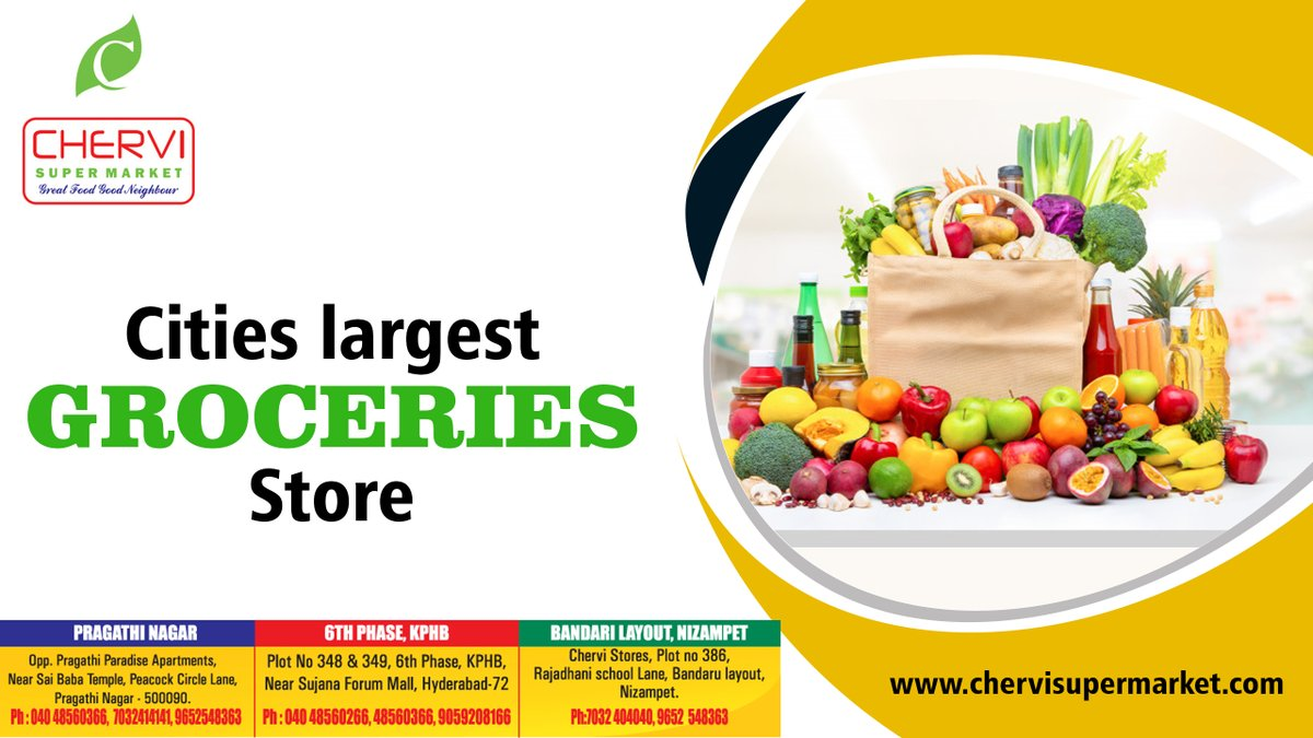 Chervi is the City's largest groceries store grab high-quality products in your budget  Free Home Delivery available  #supermarket #stores #dailyhomeneeds #groceries #fruits #freshvegetables #offers #discounts #chervisupermarketkphbpic.twitter.com/Rh9Tbn2WwU