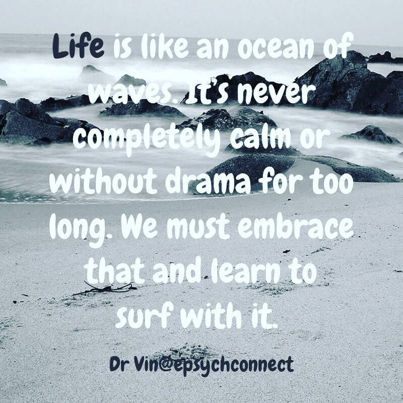 Learn to surf life's dramas rather than run away from it or struggling with it. #drama  #resilience #belikewater #acceptanceandcommitmenttherapy #acceptance #embracingchange #embracinglife https://www.instagram.com/p/B8qbwNdAYGl/?igshid=qxuzgdifa8tm…