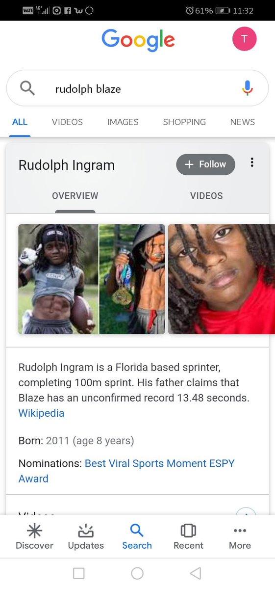 "Kids name Is Rudolph ""Blaze "" Ingram . I see it lol"