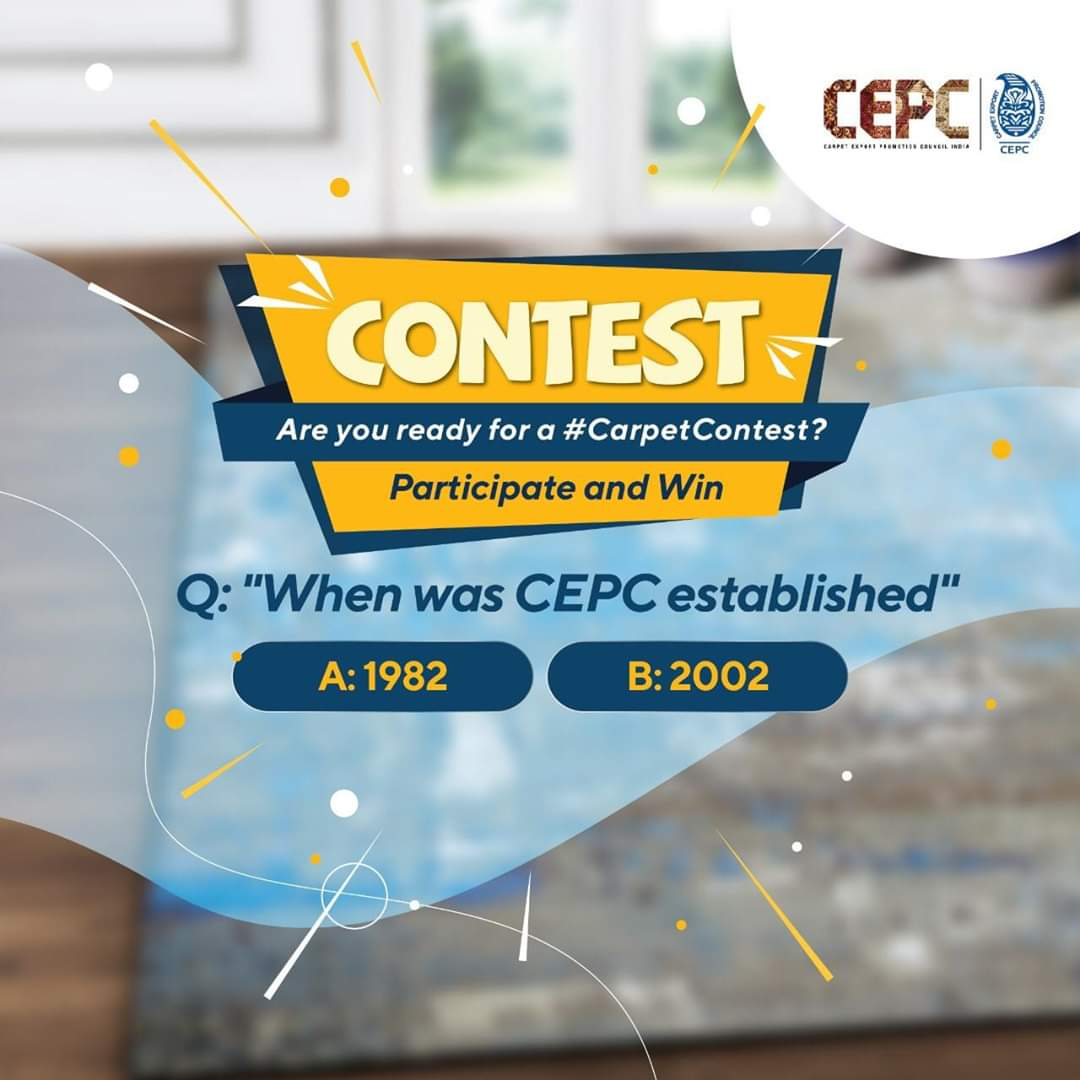 #CEPC brings to you an amazing #CarpetContest. Answer a simple question and tag as many friends as you can to win. T&C: http://bit.ly/2woKVC3 Q: When was CEPC established? 1982 or 2002? #Contest #ContestAlert #ContestAlertIndiapic.twitter.com/hEXO02q6Tu