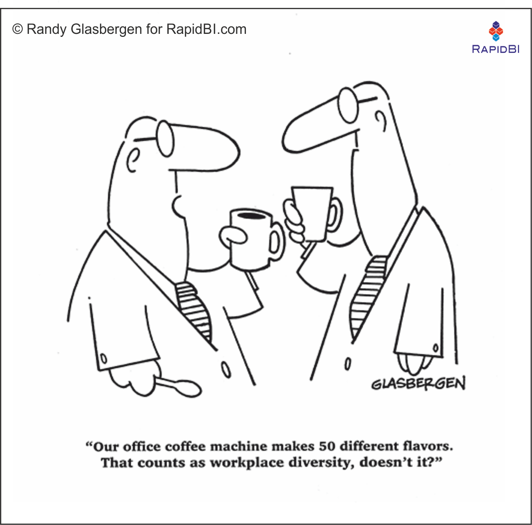 "RapidBI Daily Business Cartoon #45   ""Our office coffee machine makes 50 different flavours. That counts as workplace diversity, doesn't it?""    %%date%% https://is.gd/J8hxxi pic.twitter.com/1Z4MNIxGtE"