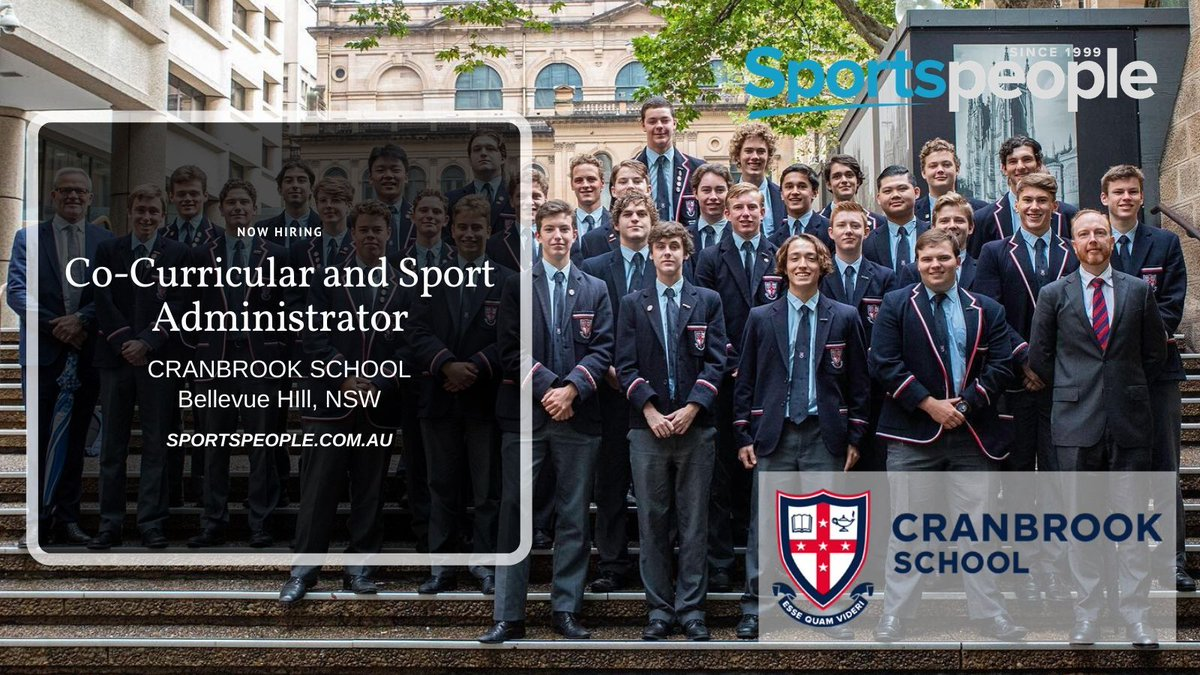 [FEATURED] Co-Curricular and Sport Administrator - @CranbrookSyd. Full Time. Bellevue Hill location. Closing 24 Feb 2020. Apply@ http://bit.ly/3bChOLB  (see more school jobs: http://bit.ly/39zKLpO ) #sportspeople #sportjobs #Cranbrookpic.twitter.com/32Ff3AMlM8