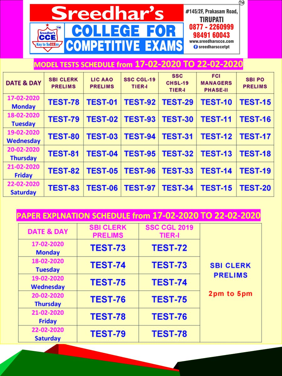 MODEL TESTS & PAPER EXPLANATION SCHEDULE FROM 17-02-2020 TO 22-02-2020  #MODELTESTS2020 #FEBRUARY2020 #SBICLERKPRELIMS2020 #SSCCGL2020 #SSCCHSL #RBIASSISTANTS #SREEDHARSCCE #LICAAO #SBIPOPRELIMSpic.twitter.com/HsaabFSbIC