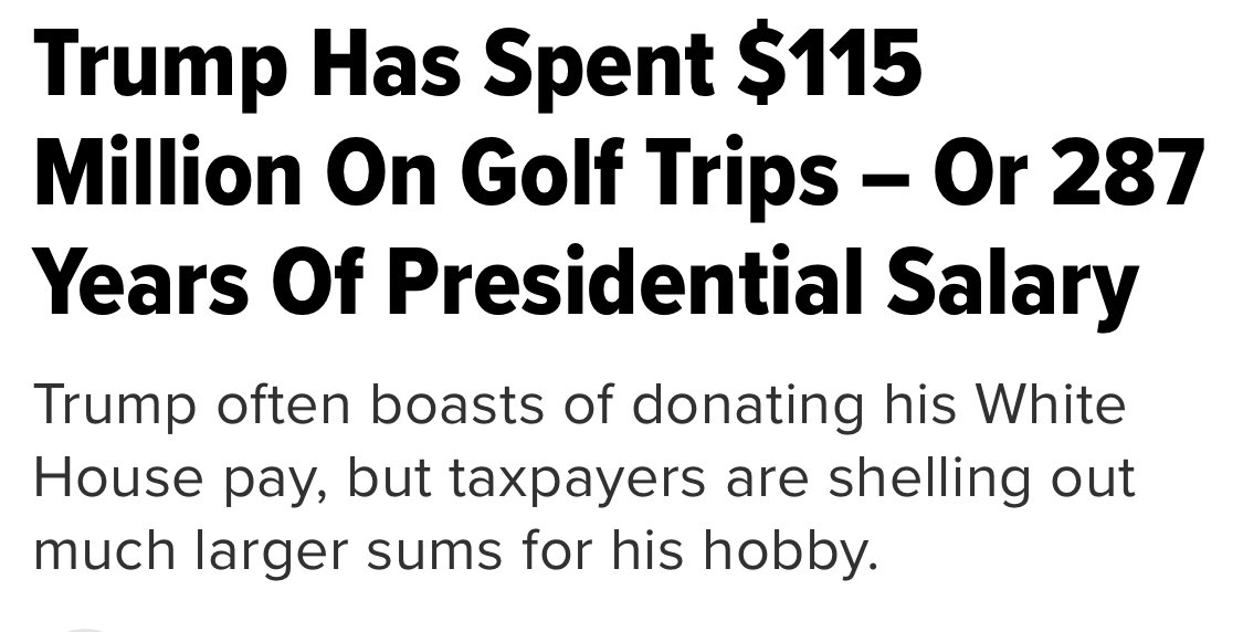And you thought spending time on the Russian LINKS cost taxpayers a 💩 load ...#TrumpIsAnIdiot #Budget #GOPTaxScam #420dreamteam #BREAKING