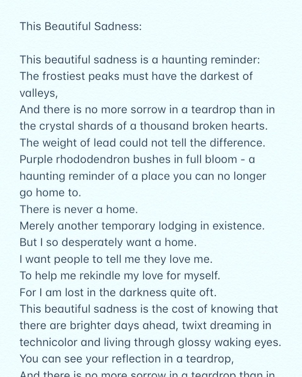 This beautiful sadness is a haunting reminder that the battle is far from over. This is my life.  #poetry #love #selflove #selfcare #self #trauma #beautiful #fragile #trying #writing #creative #authorsofinstagram #author #writersofinstagram #writer #poem #poemsofinstagrampic.twitter.com/G6lME3teYC
