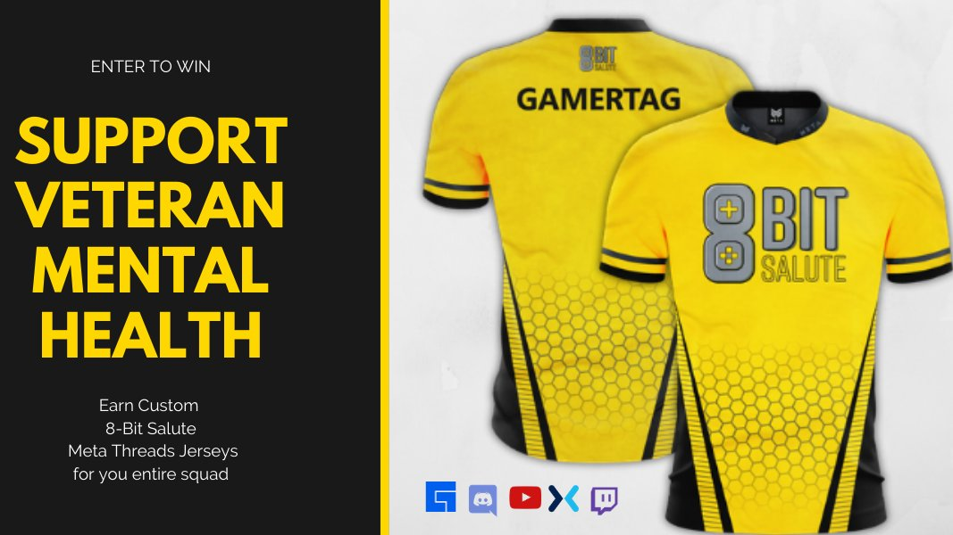 Support Veteran Mental Health and win exclusive @8bitsalute @metathreads Jerseys for your whole squad!   Enter: https://sdqk.me/6Ct9qQJW/250k-challenge-contest-for-veteran-mental-health…  #contest #entertowin #gamer #charity