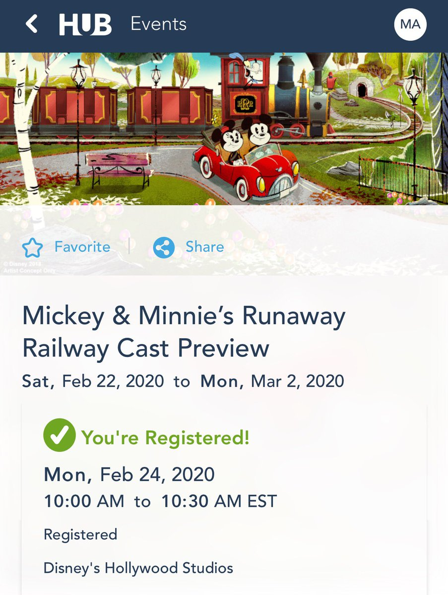 Got the day, and time that I was goin' for! #MickeyAndMinniesRunawayRailway, is #MickeyMouse, & #MinnieMouse's first ever themed ride, which opens March 4th, at @WaltDisneyWorld's #HollywoodStudios, but #DisneyCast previews first! #Thanks @WaltDisneyCo! pic.twitter.com/vpg1HIqHZF
