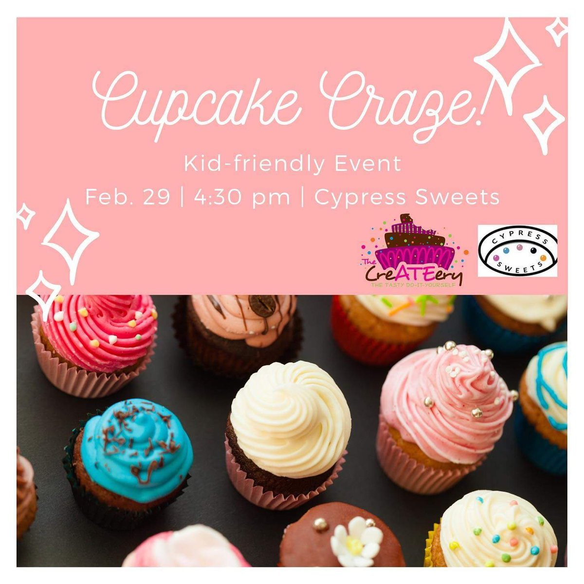 Keep your sweet tooth satisfied one #CySweets event at a time!   NOW booking seats for our Feb#cupcakedecorating class taught by #TheCreATEery. #cupcakecraze  #thetastydiy #thingstodoinhouston #cupcakes #houstonmoms #houstonkidsparty #katymoms #familyfun #cypresspartyplacepic.twitter.com/DPzbsAzv54