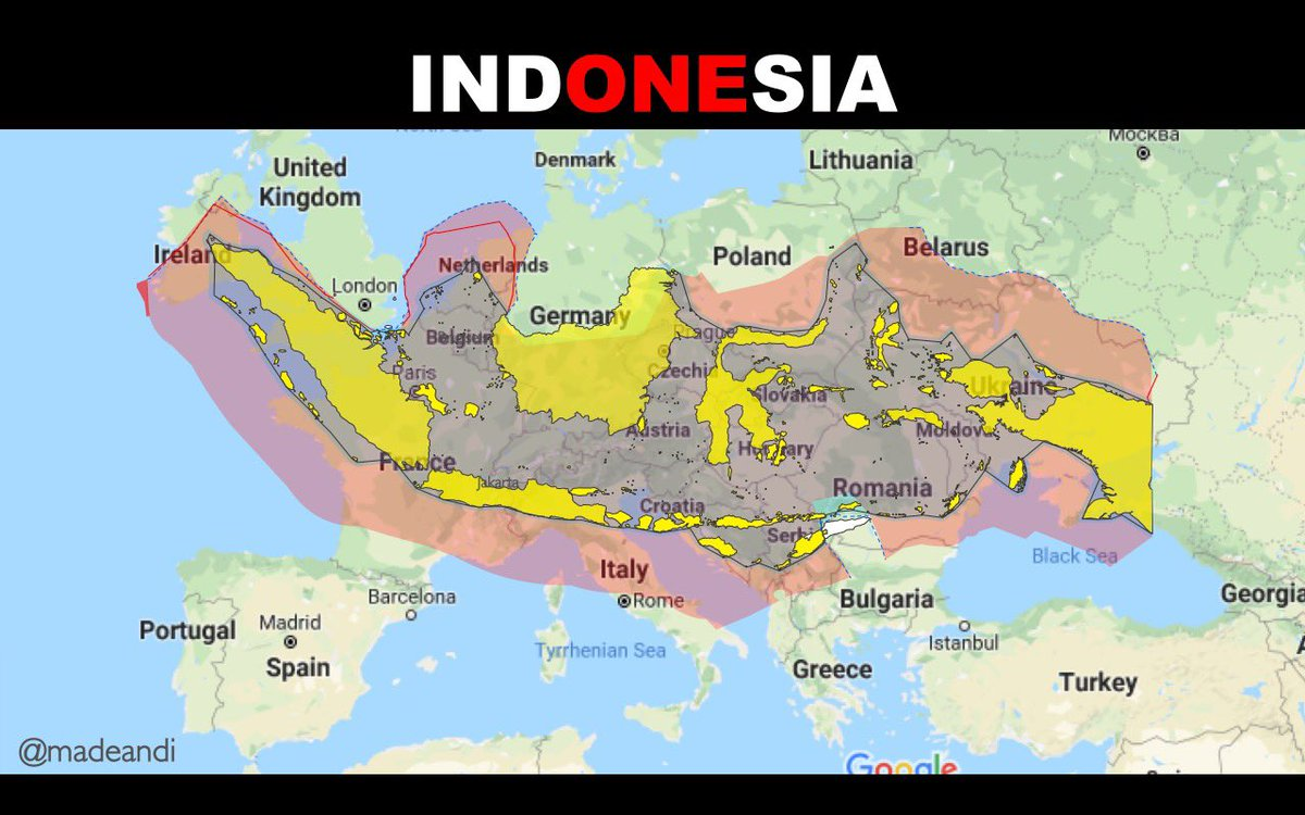 -where r u from? -Indonesia -oh, near Bali?  Jawaban kesel:  Lemme tell u. We have > 17000 islands. Our distance from west to east is > 5000kms. Like from Ireland to Russia. Longer than California-New York. Almost the entire Europe is covered by Indonesia. Bali is in Indonesia! <br>http://pic.twitter.com/0bYU28XMmf