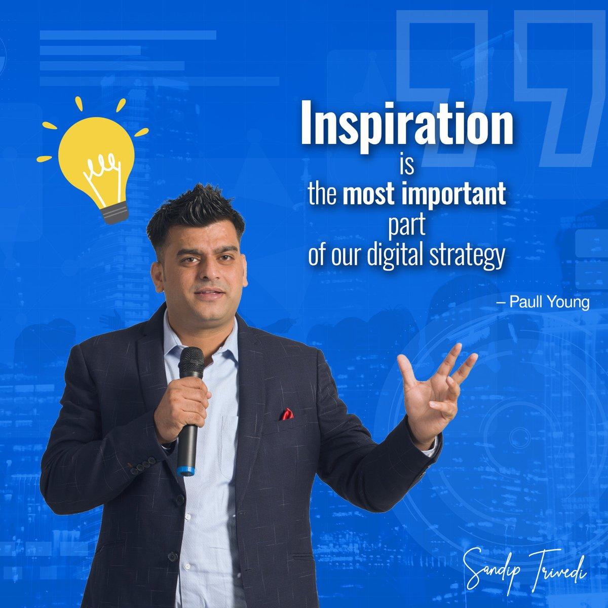 """So lets talk about who Inspires you. . . . #MondayMotivation #digitalmarketing #socialmediamarketing #digitaltraining #sandiptrivedi #trendy #headlines #brand #digitalconsultant #creativity #relavance #searchengineoptimization #entrepreneur #successpic.twitter.com/oQNs8h1YcP"