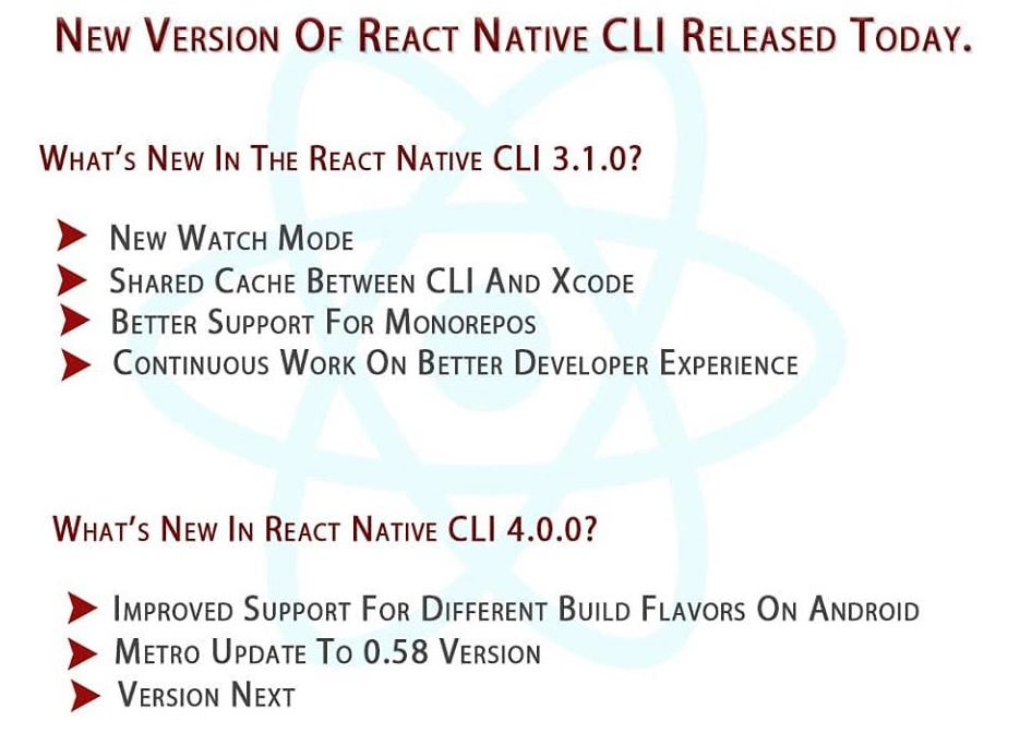 New version of React Native CLI just released  . .. .... #react #reactnative #js #appdevelopers #appdevelopment #technews #techfacts #technology #innovation pic.twitter.com/toVr4jqzor