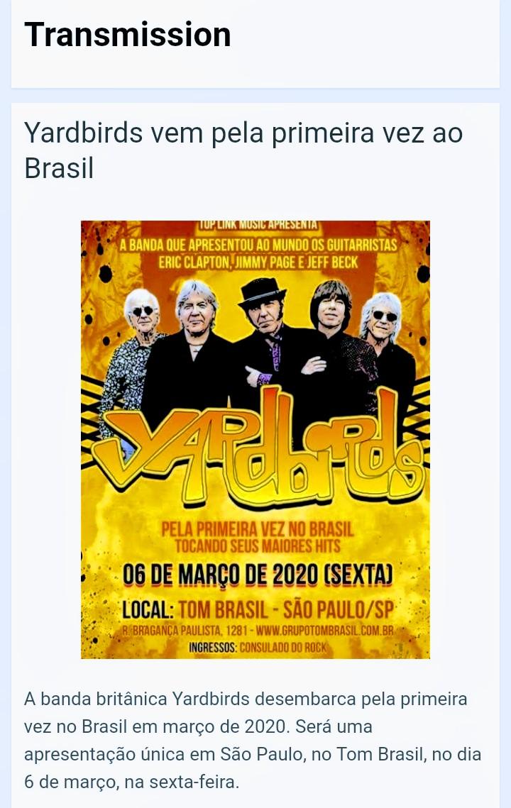 @theyardbirds (@kennybass @MykeScavone ) faz apresentação única no Brasil, em São Paulo, no Tom Brasil, no dia 6 de março de 2020! A produção é da @toplinkmusic ! Leia a matéria completa no Transmission!  https://gabrielpalmaguitar.wordpress.com/2020/01/26/yardbirds-vem-pela-primeira-vez-ao-brasil/…pic.twitter.com/sgmfODwxJW