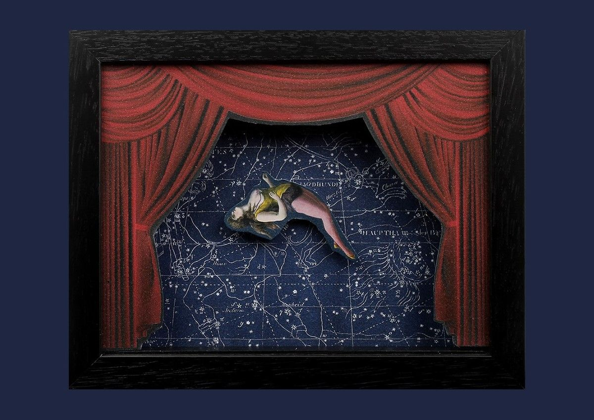 "Sleepwalking into another week with ""The Somnambulist"" from Gavin Jay - here's hoping we can pull it off with as much style as this! #LimitedEdition #relief #collage in shadow-box frame, £50.  #papercut #vintagecollage #victoriana #stage #musichall #acrobat #starscape #art"