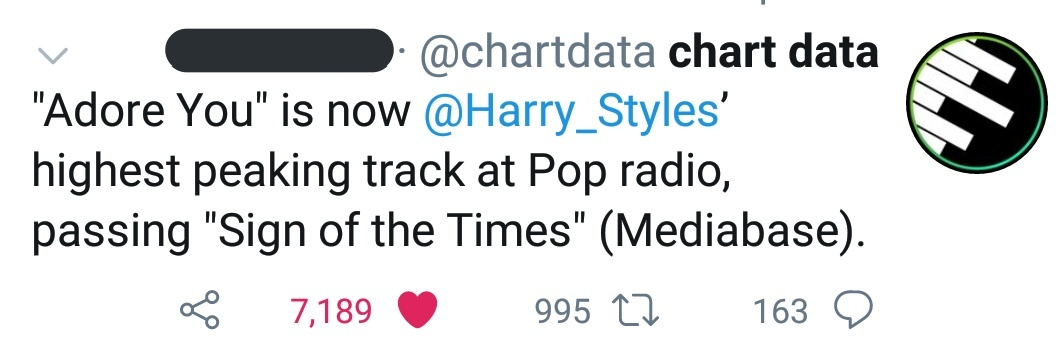 """- """"Adore You"""" is now harrys highest peaking song at pop radio, surpassing """"Sign of the Times"""". - """"Fine Line"""" is still on top 5 on Apple Music album chart. pic.twitter.com/IUSCcVHDfd"""