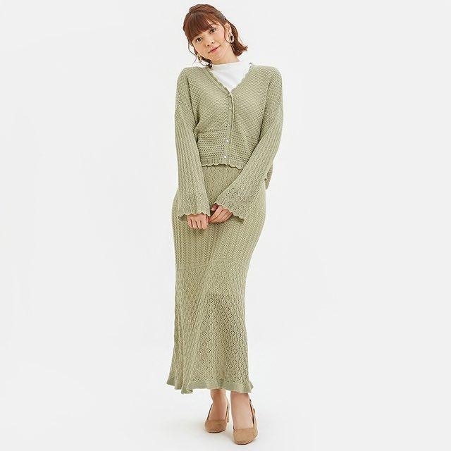 GUの新作「透かし編みカーディガン」と「透かし編みニットスカート」がめちゃくちゃ可愛い、、、セットアップ可能商品なんだけど、これはセットアップで着るべき、、、絶対買う、、、