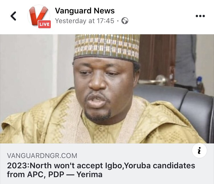 2023: North won't accept Igbo, Yoruba candidates from APC, PDP — Yerima.  Let  the North hold their presidency and allow other regions to go their separate ways  Oduduwa Republic and Biafra Republic ) Afterall, we are not one before!  @osita_chidoka @segalink @DrJoeAbah @realFFKpic.twitter.com/8UzHB1hJlW