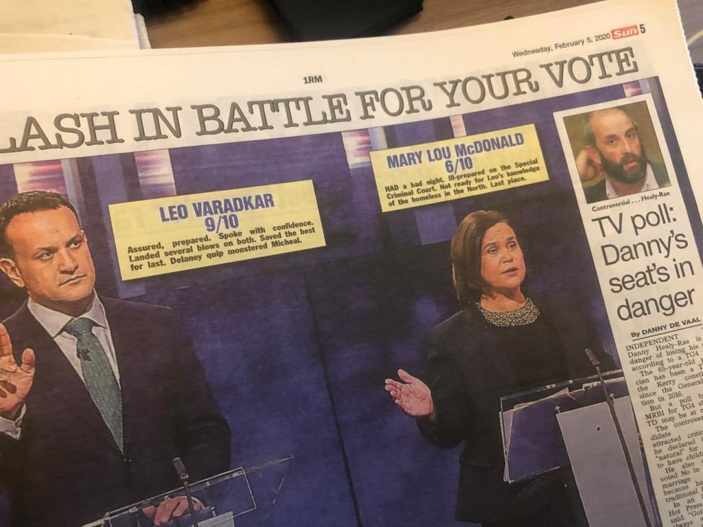 Four newspapers score last night's #LeadersDebate:  @Independent_ie @IrishSunOnline @irishdailymail @IsFearrAnStar  All call it for @LeoVaradkar. #rtept<br>http://pic.twitter.com/OnMd7LdZ23