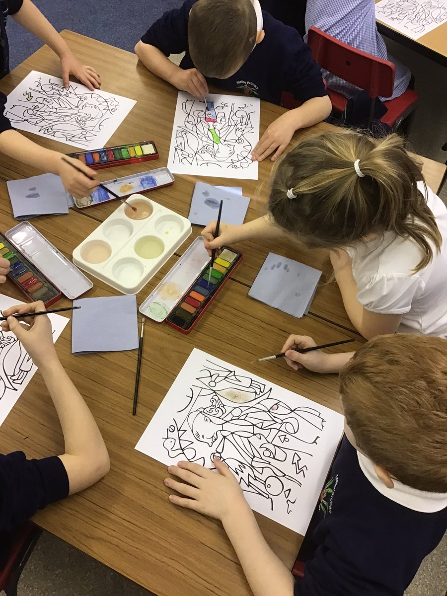 Exploring watercolours and colour mixing with Paul Klee, amazing concentration and delicate brush strokes @KeelbyPrimary #artisticexploration pic.twitter.com/coV1wvMosM