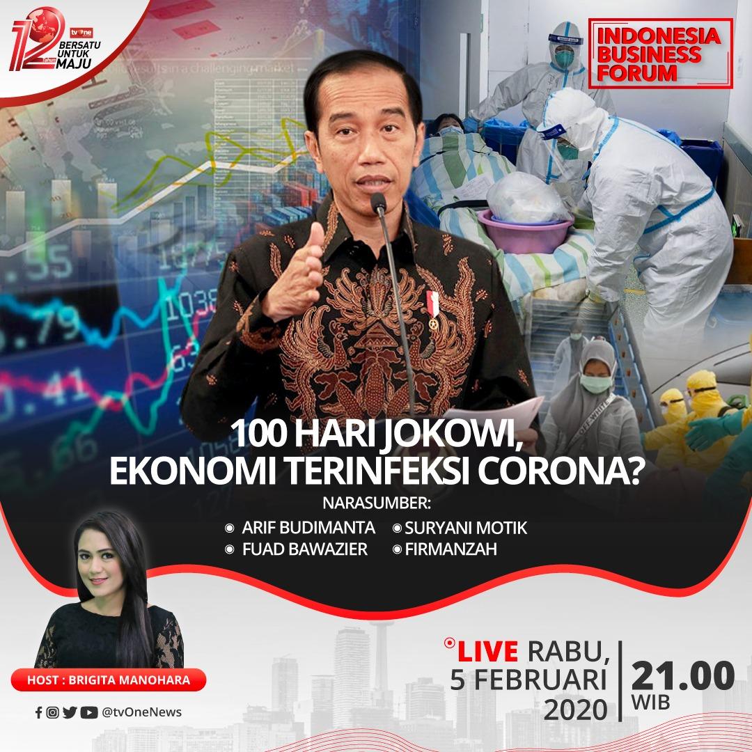 """Ekonomi RI dalam 100 hari Pemerintahan Jokowi-Ma'ruf belum menggembirakan. Mewabahnya Virus Corona diprediksi berdampak ke ekonomi. Benarkah ekonomi kita terinfeksi Virus Corona?Indonesia Business Forum malam ini """"100 hari Jokowi, ekonomi terinfeksi Corona?"""" di tvOne.#IBFtvOne"""