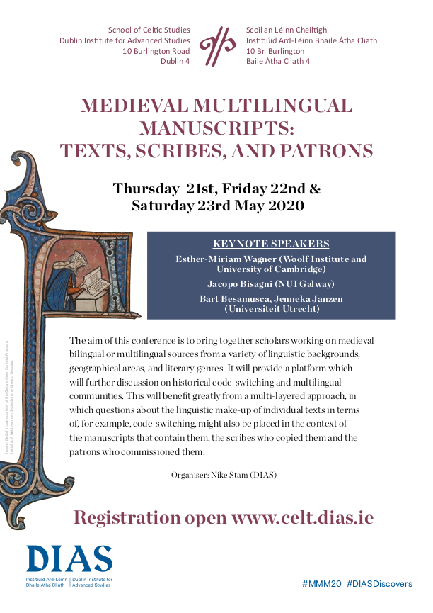 test Twitter Media - Medieval Multilingual Manuscripts: Texts, Scribes, and Patrons. 21st, 22nd, 23rd May 2020 @DIAS_Dublin  Registration now open. ✍️ Programme and Abstracts now available.  #MMM20 #DIASdiscovers  https://t.co/XEJeONeIIK https://t.co/SgOFl1I2Rt