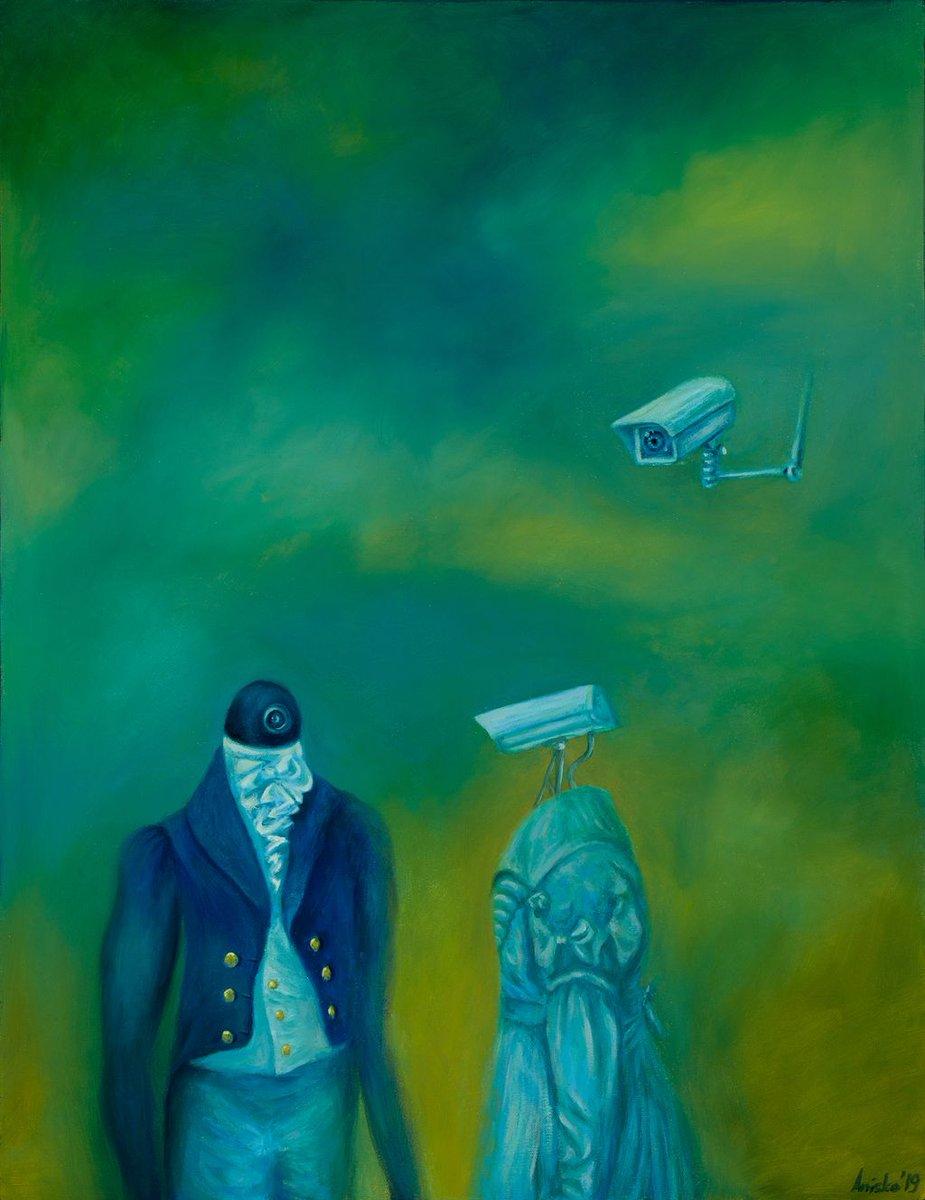 """The Conversation"" 2019 oil on canvas 68.3 x 88.5 cm  original available #art #artcollector #artist #artwork #contemporaryart #colors #painting #mkanisko #surrealart #surrealism #technologyart pic.twitter.com/D7FJBa70xp"