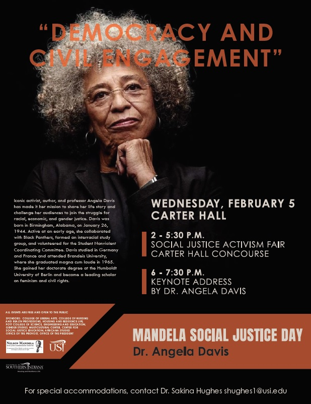 TODAY!! Don't miss out on the Social Justice Activism Fair from 2-5:30pm and Dr. Angela Davis speaking in Carter Hall at 6pm! Come visit our table at the fair! #USI #socialjustice #mandeladay2020 #usicsje