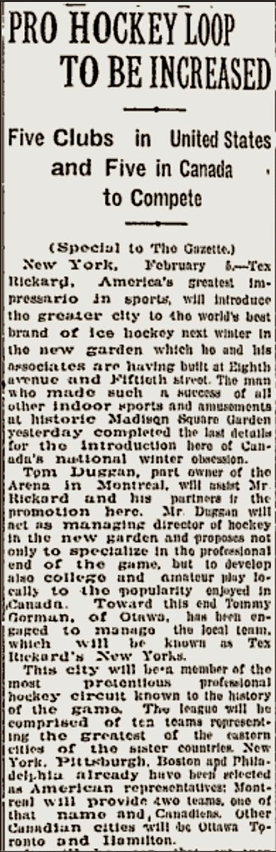 "This date in 1925: @TheGarden promoter Tex Rickard (photo) and Montreal promoter Tom Duggan announce they've been granted an NHL expansion team. New York Americans will begin play at MSG in 1925-26, coached by Tommy Gorman, bringing ""Canada's national winter obsession"" to NYC"