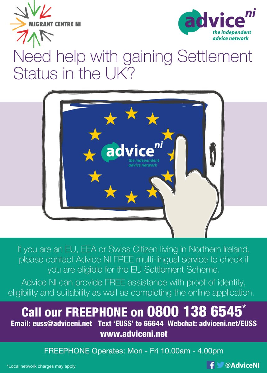 We are hosting a #free #adviceclinic for EU and EEA nationals living in Northern Ireland who still need to register for the #EUSettlementScheme on Feb 12. Registration is recommended - just click below eventbrite.co.uk/e/eu-settlemen…