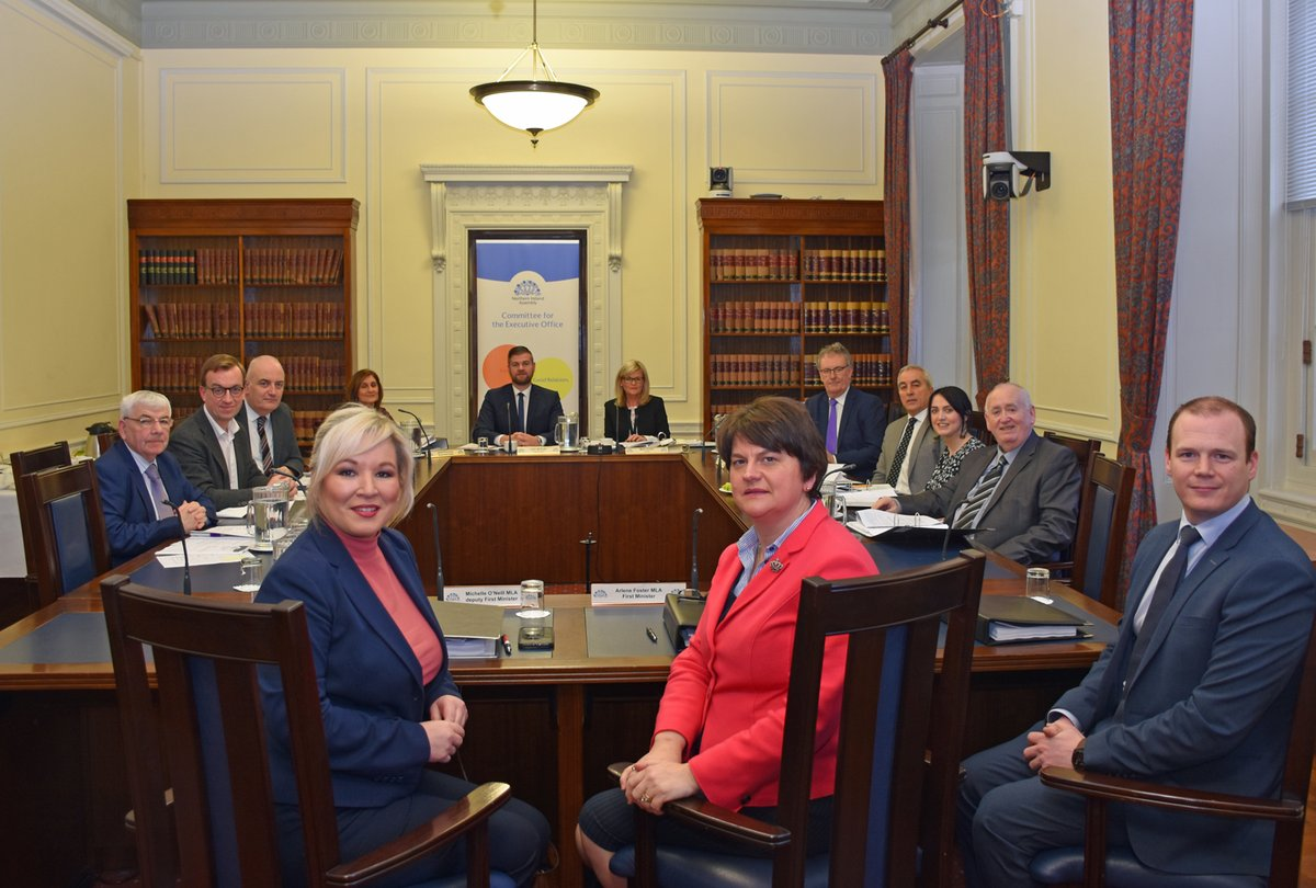 First Minister Arlene Foster and deputy First Minister Michelle O'Neill, alongside Junior Minister Gordon Lyons, update the @NIAEOCttee on the work of The Executive Office and highlighted some key priorities for the department