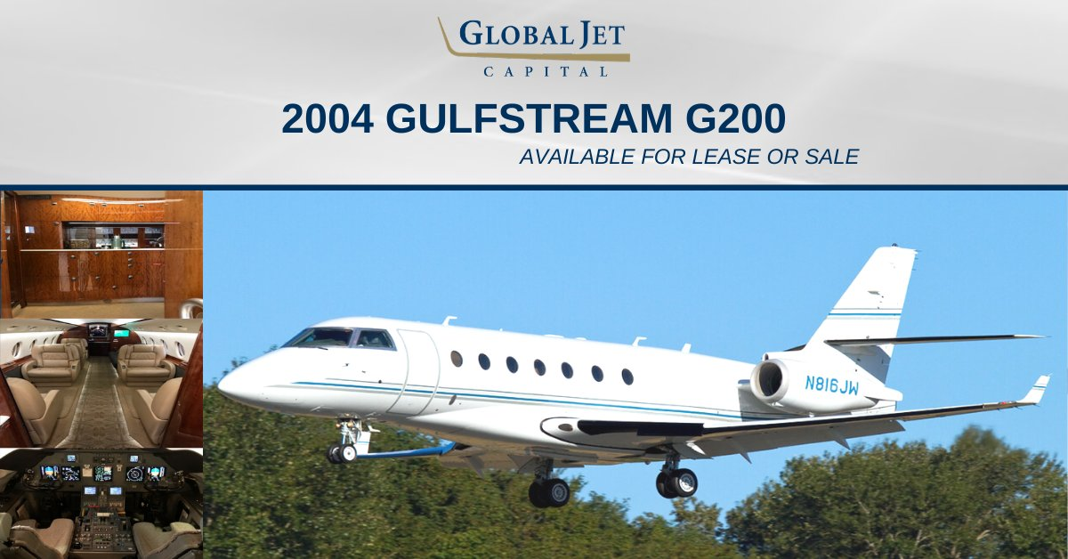 Global Jet Capital is now offering this exceptional 2004 Gulfstream G200 for lease or sale featuring 9 passenger configuration, tastefully appointed interior, in-flight WiFi, and more. View details: hubs.ly/H0mTPY60. #bizav #aviation #bizjet