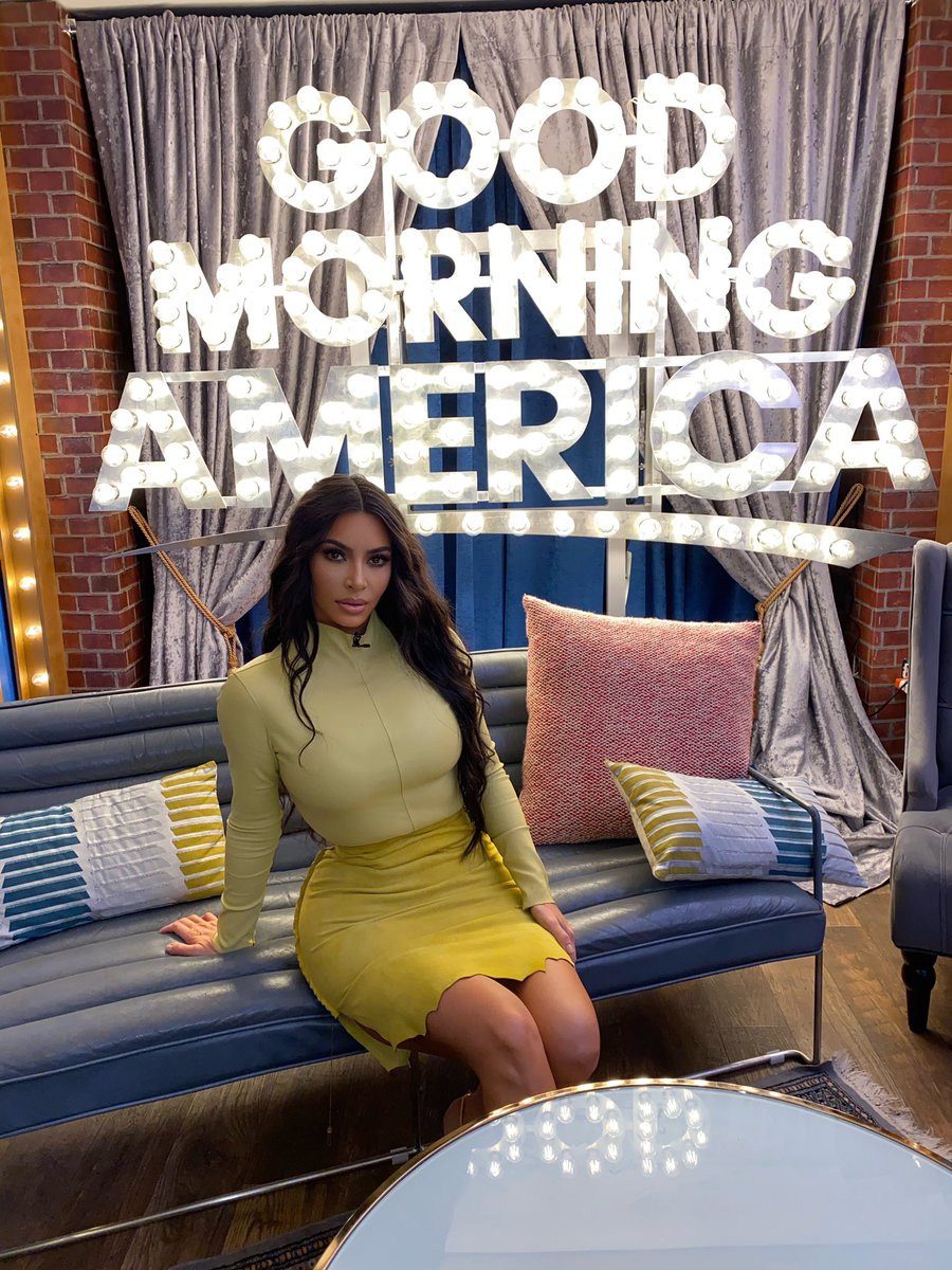 Good morning!! Make sure you guys tune in to watch @kimkardashian on @goodmorningamerica today at 8am #GMA! Kim is celebrating the launch of @skims at Nordstrom! @nordstrom #proudmama