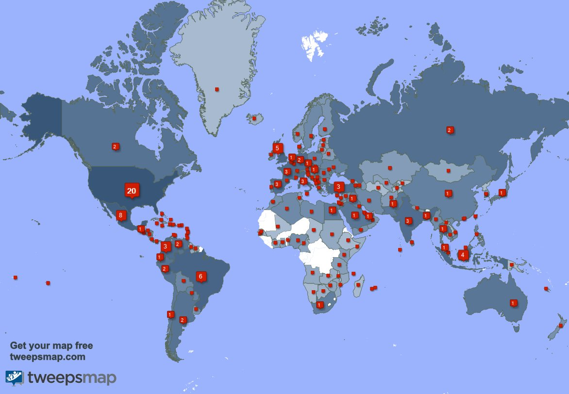 Special thank you to my 502 new followers from USA, Mexico, Brazil, and more last week. tweepsmap.com/!evelina_darli…
